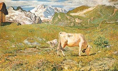 Giovanni Segantini, Paesaggio con Mucche. Mostra 800 Palazzo Martinengo.